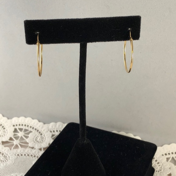 Vintage Other - 14 Karat all Yellow Gold 0.9 Inch Hoop Earrings